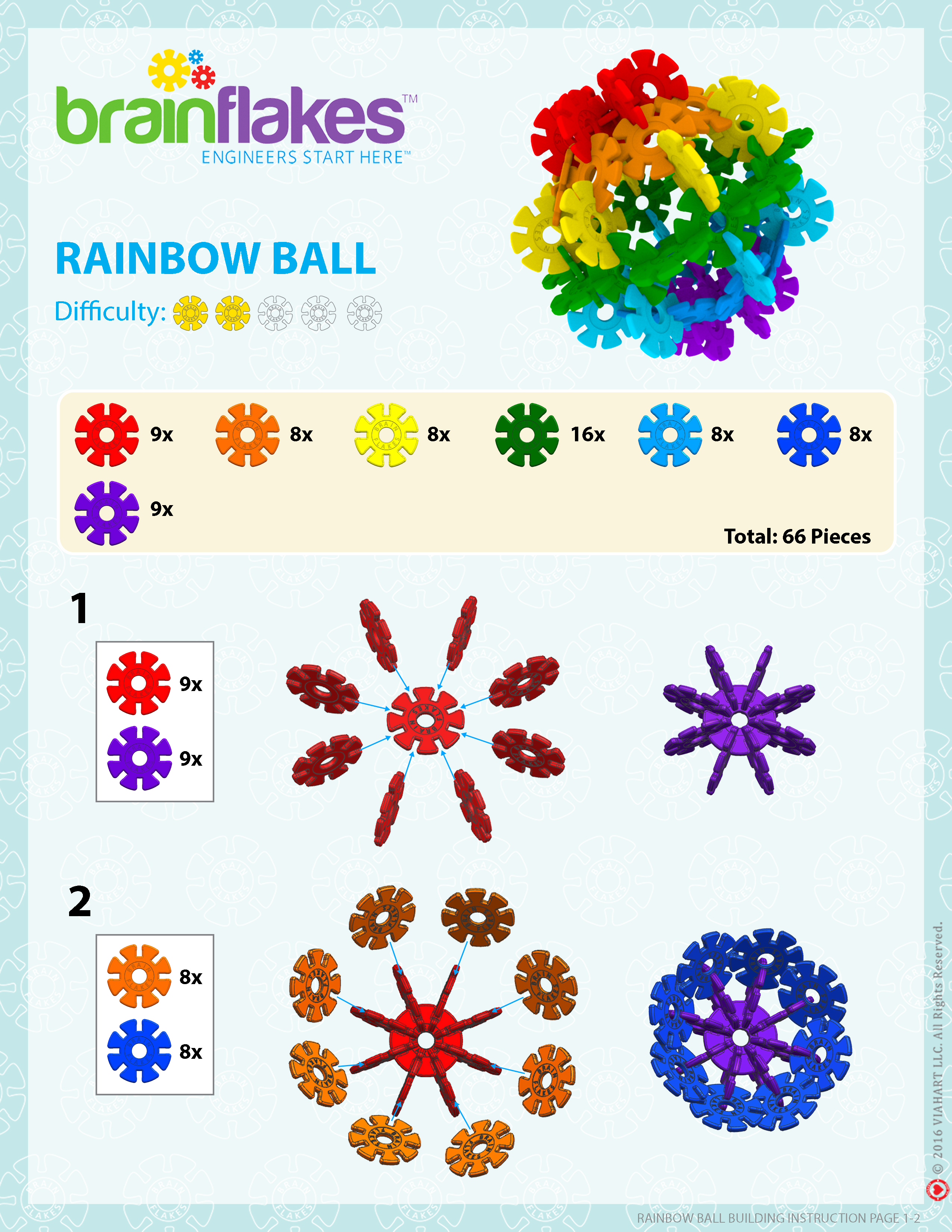 Brain Flakes Rainbow Ball Instructions Page 1