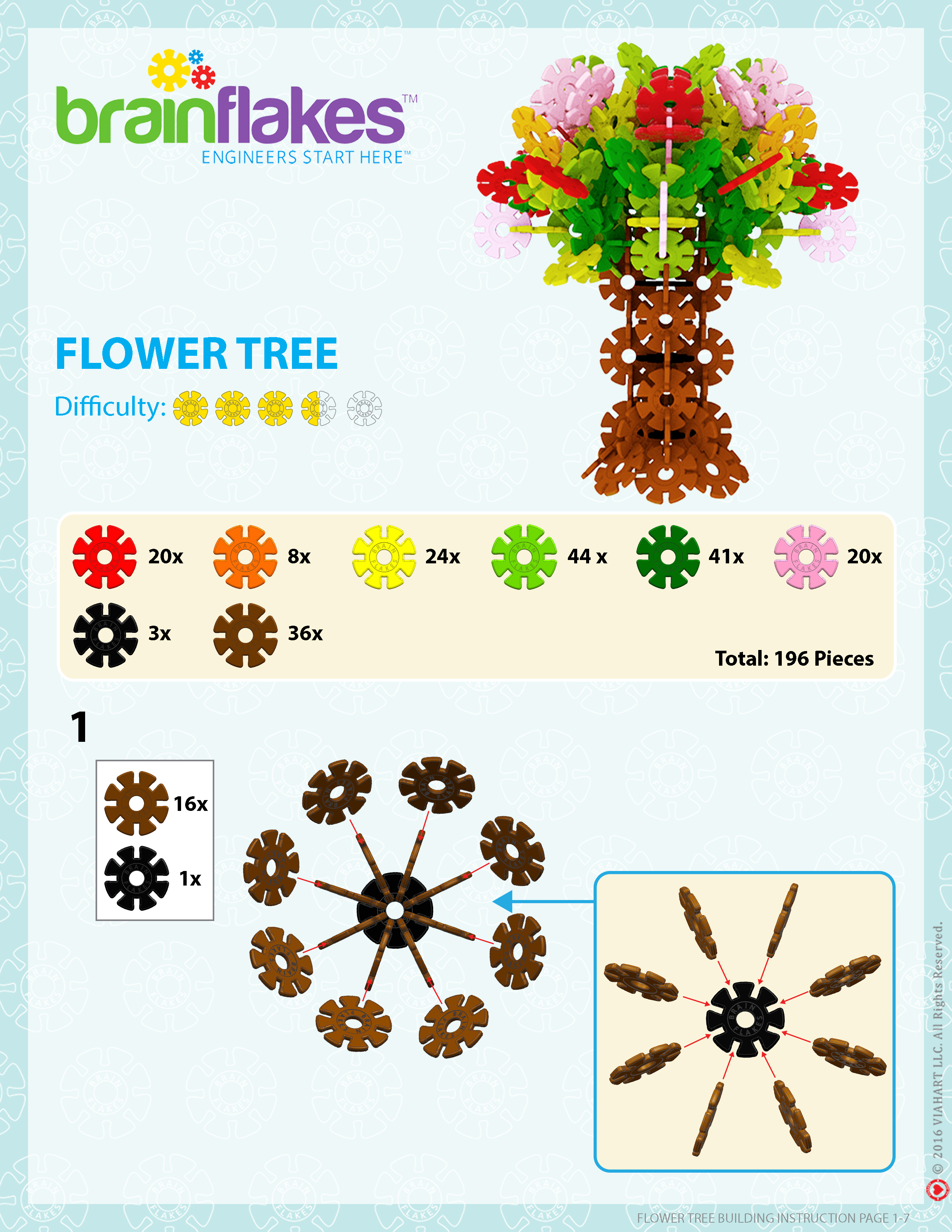 Brain Flakes Flower Tree Instrucions Page 1
